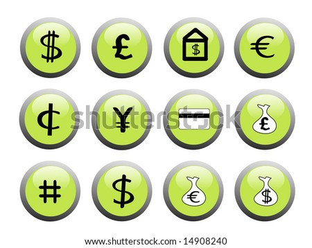 set of green financial icon buttons with black and white icons - stock vector