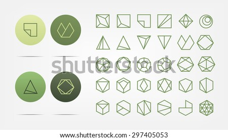 Set of green geometric shapes. Trendy hipster retro icon and logotypes. Vector illustration. - stock vector