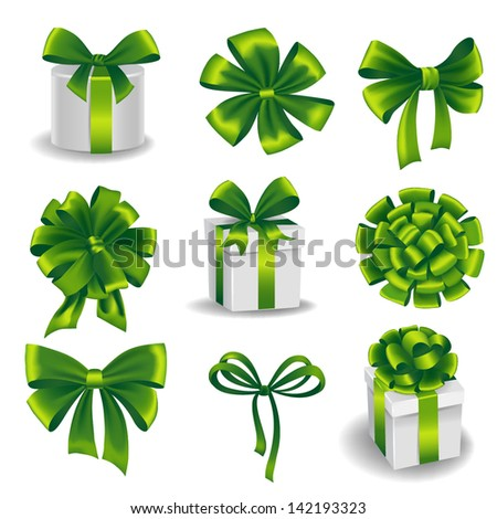 Set of green gift bows with ribbons. Vector illustration. - stock vector