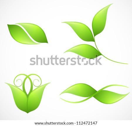 Set of green leaf's images. Vector illustration - stock vector