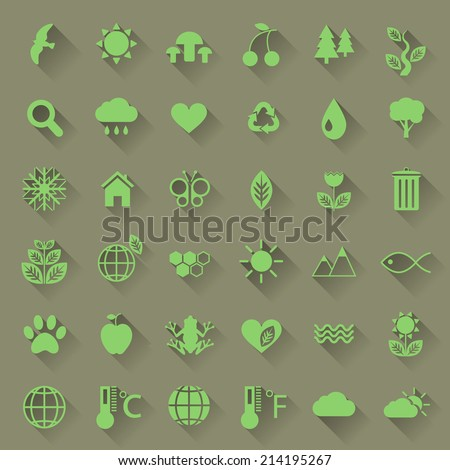 Set of green nature icons with long shadow in flat design for web or mobile app EPS 10 - stock vector