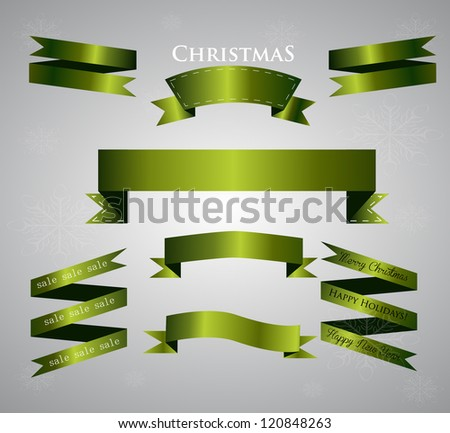 set of green ribbon - stock vector