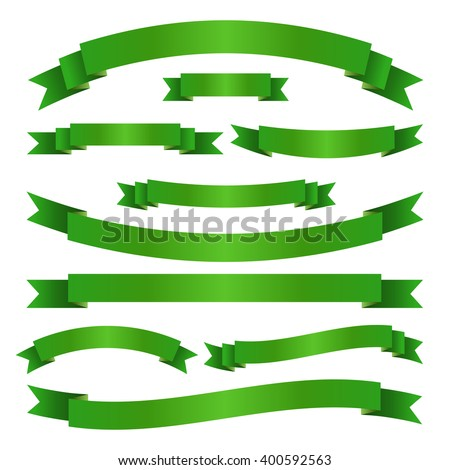 Set of green ribbon banners. Collection of scroll elements. Vector illustration. - stock vector