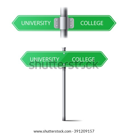set of green road signs on a pole direction. the choice between the university and the college - stock vector