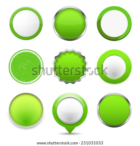 Set of green round buttons, vector eps10 illustration - stock vector