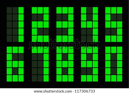Set of green square digital number on black - stock vector