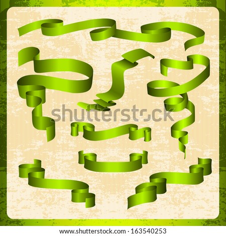 set of green tapes for a holiday. - stock vector