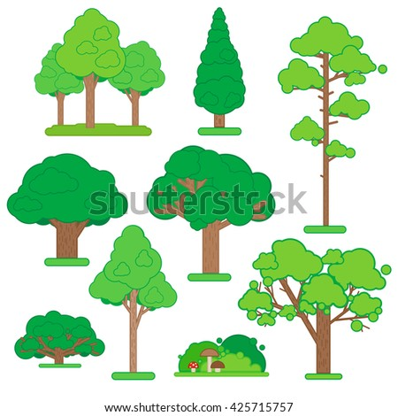 Set Of Green Trees and Shrubs on White Background. Vector Illustration. - stock vector