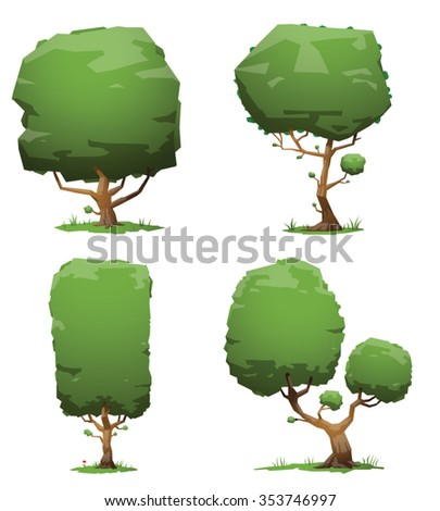 Set of green trees. Four trees different size and forms. Made with shadows and hotspots. There is grass under threes. vector illustrations - stock vector