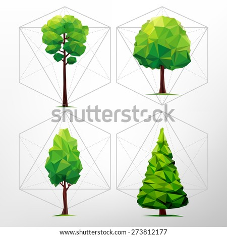 SET of green trees. Tree abstract isolated on a white background (illustration of a many triangles) - stock vector