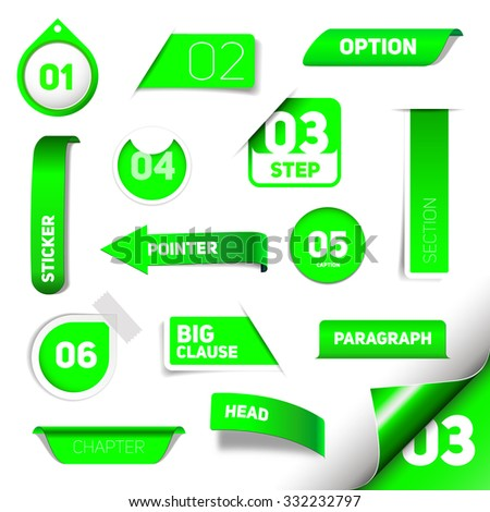 Set of green vector progress step icons, version, labels, stamps, stickers, corners, tags - vector - stock vector
