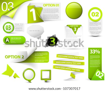 Set of green vector progress, version, step icons - stock vector