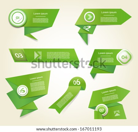 Set of green vector progress, version, step icons. eps 10 - stock vector