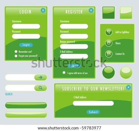 Set of green web forms - stock vector
