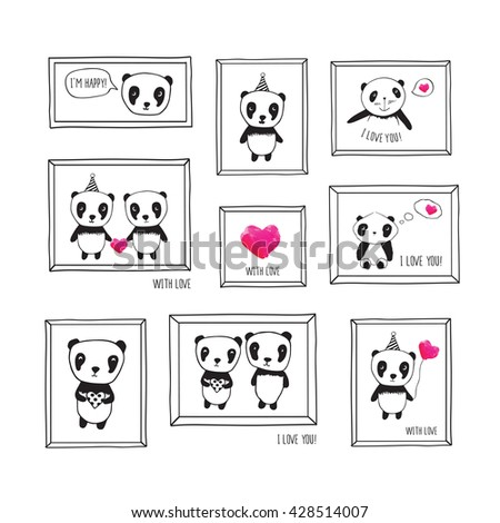 Set of greeting cards for Mother's Day, birthday, wedding with hand drawn pandas and pink watercolor hearts. Vintage frames for your design. Doodles, sketch. Vector. - stock vector