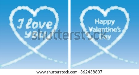 """Set of greeting cards valentine decorated heart of the cloud with the words """"I love you"""" and """"Happy Valentine's Day"""" on a background of blue sky. - stock vector"""