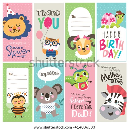 Set of greeting cards with cute cartoon animals - stock vector