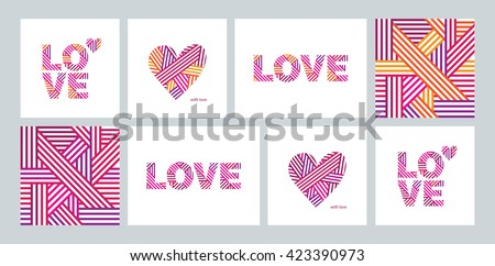 Set of greeting cards with heart for Valentine's, Mother's, Women's Day, birthday, wedding invitations, congratulations. Abstract heart, the word love, seamless pattern. Vector. - stock vector