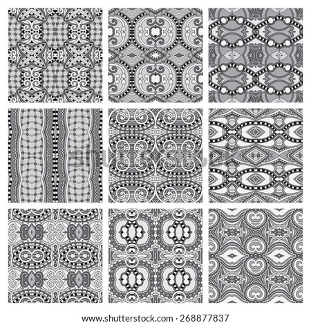 set of grey different seamless vintage geometric pattern, texture for wallpaper, web page background, fabric and wrapping paper design, black and white - stock vector