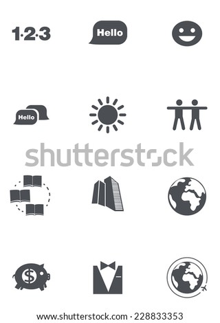 set of grey education icons - stock vector
