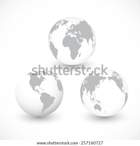 Set Of Grey World Globes vector Illustration - stock vector