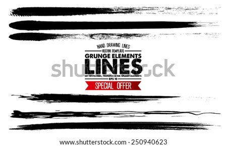 Set of grunge and ink strokes. vector template - easy ti use - stock vector