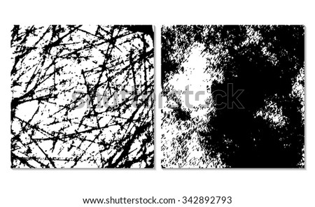 Set of 2 grunge background textures. Monochrome backdrop. Easy editable vector illustration. Black and white  dirty template. - stock vector