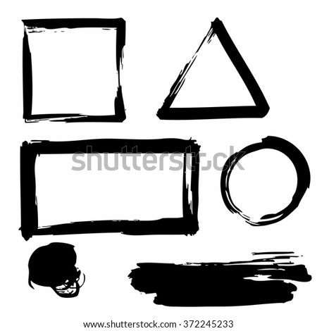set of grunge banners, labels, circles on white background, doodle hand drawn - stock vector