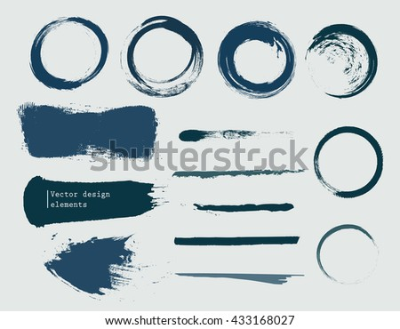 set of grunge banners, strokes and empty scribble circles isolated on white. vector design elements - stock vector