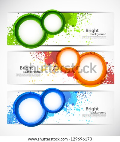 Set of grunge banners with circles - stock vector