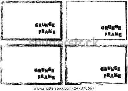 Set of Grunge Black and White Frames. Distressed Border Frame Collection. Vector Frame for Your Design.  - stock vector