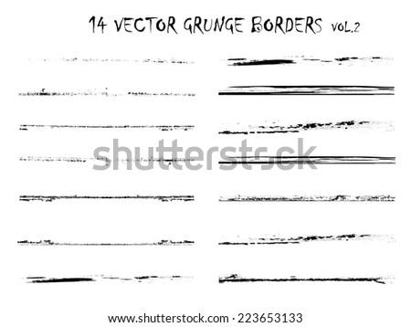 Set of Grunge Borders. Grunge Dividers . Grunge Brushes Collection . Retro background. Vintage Background . Vector Elements . Distress Texture . Texture Background . Scratch Stripes . Grunge Edge Set  - stock vector