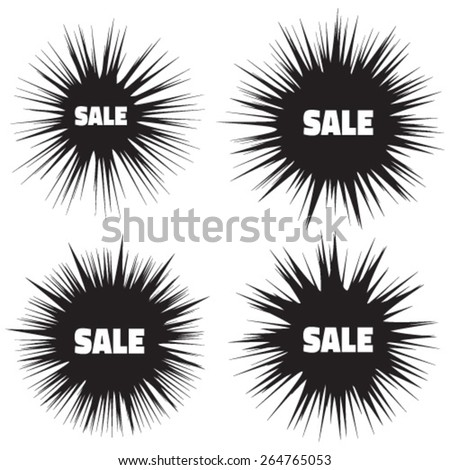 Set of Grunge Cloud Explosions, blast or bomb bang  - stock vector