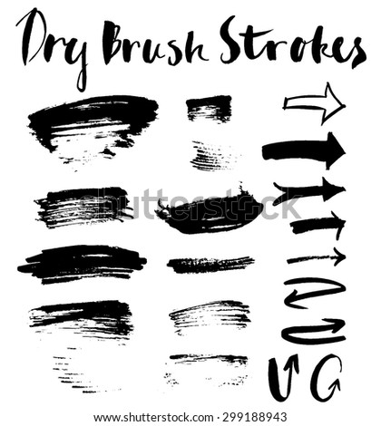 Set of grunge dry textured brush strokes and arrows - stock vector