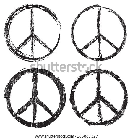 Set of grunge peace symbol on white background, vector illustration - stock vector