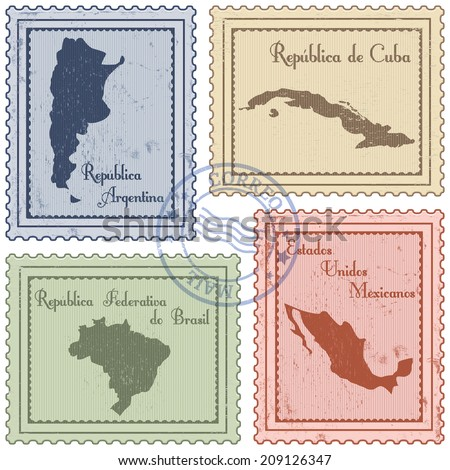 set of grunge postal stamps of Latin America countries - stock vector