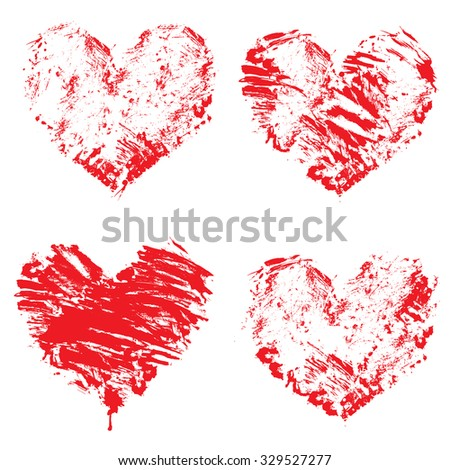 Set of grunge red color figures - hearts. Isolated on white background. Elements for love cards, wedding invitations, Valentines Day holidays design. - stock vector