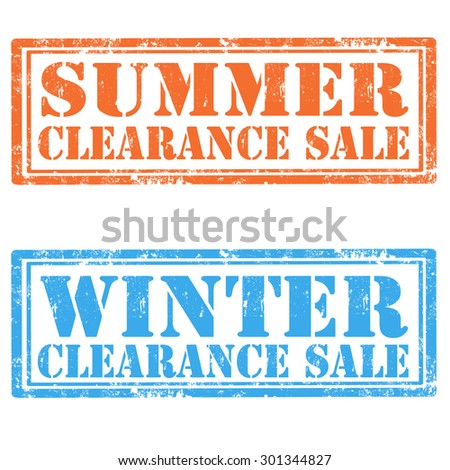 Set of grunge rubber stamp with text Summer Clearance Sale and Winter Clearance Sale,vector illustration - stock vector