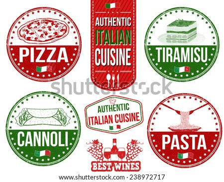 Set of grunge rubber stamps with authentic italian food, vector illustration - stock vector