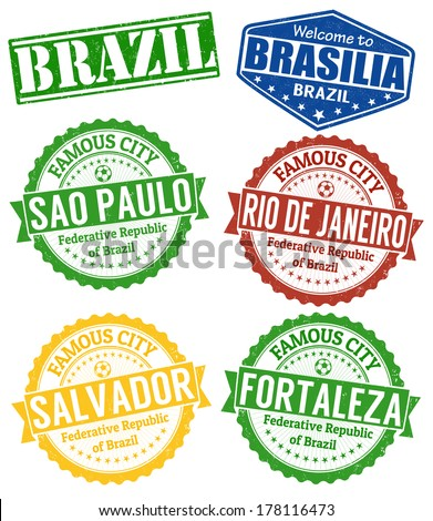 Set of grunge rubber stamps with names of Brazil cities, vector illustration - stock vector