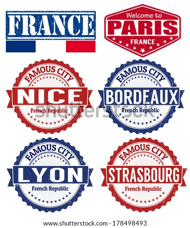 Set of grunge rubber stamps with names of France cities, vector illustration - stock vector