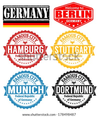 Set of grunge rubber stamps with names of Germany cities, vector illustration - stock vector