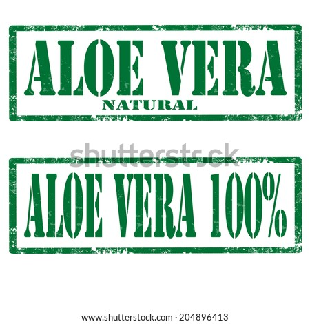 Set of grunge rubber stamps with text Aloe Vera,vector illustration - stock vector