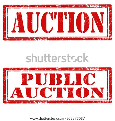 Set of grunge rubber stamps with text Auction and Public Auction,vector illustration - stock vector