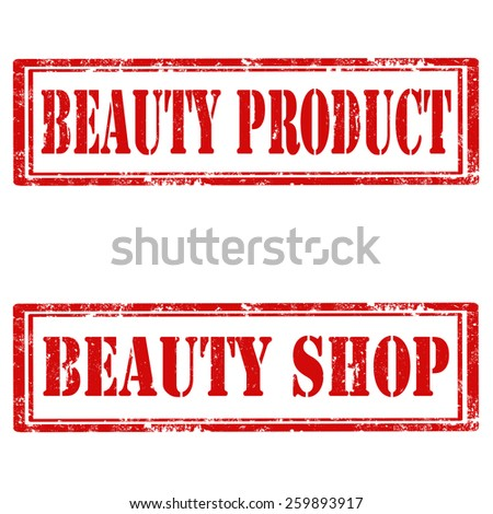 Set of grunge rubber stamps with text Beauty Product and Beauty Shop,vector illustration - stock vector