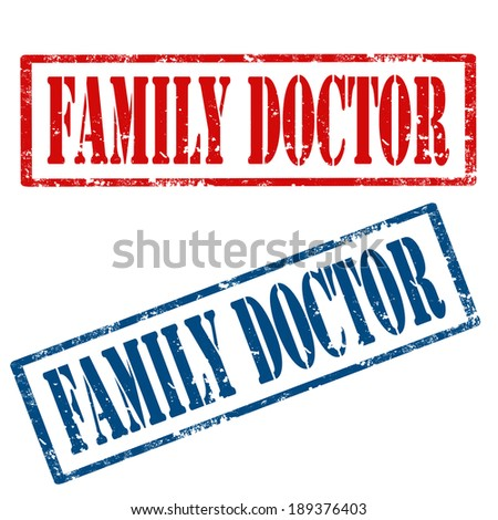 Set of grunge rubber stamps with text Family Doctor,vector illustration - stock vector