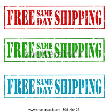 Set of grunge rubber stamps with text Free Same Day Shipping,vector illustration - stock vector