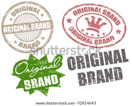 Set of grunge rubber stamps with text original brand written inside, vector illustration - stock vector