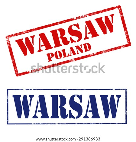 Set of grunge rubber stamps with text Warsaw-Poland,vector illustration - stock vector