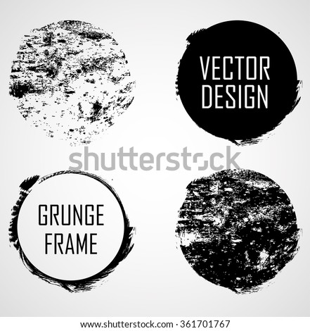 Set of Grunge Rubber Texture Stamp . Distressed Stamp Texture . Post Stamp Collection . Circle Stamps . Circle Frames. Circle Brush Strokes . Vector Illustration . - stock vector